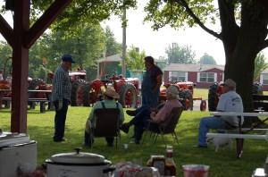 admiring the tractors